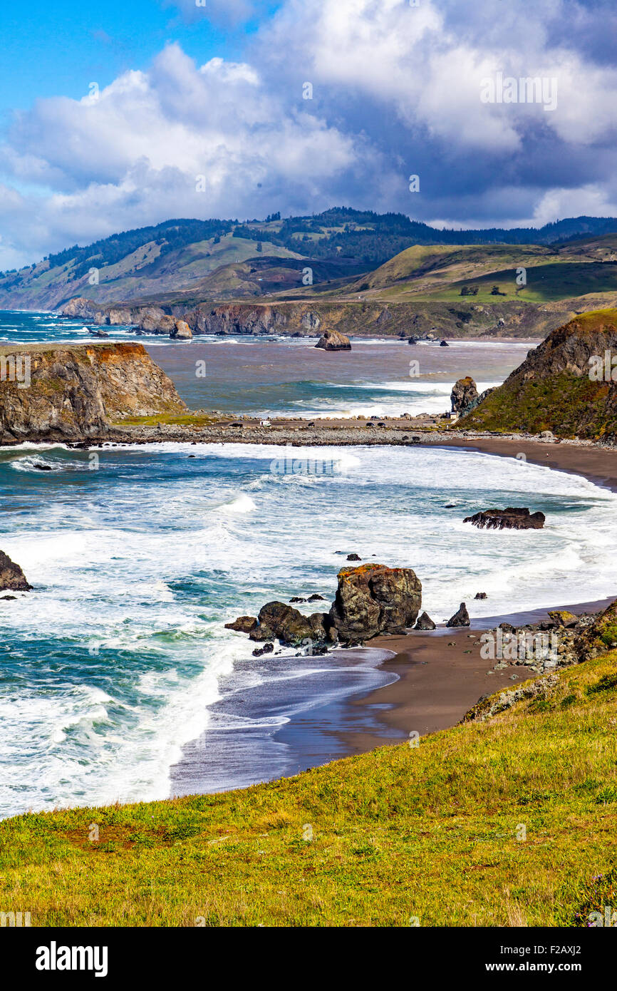 Goat Rock State beach and the outflow of the Russian River  part of the Sonoma Coast State Park Jenner California Stock Photo