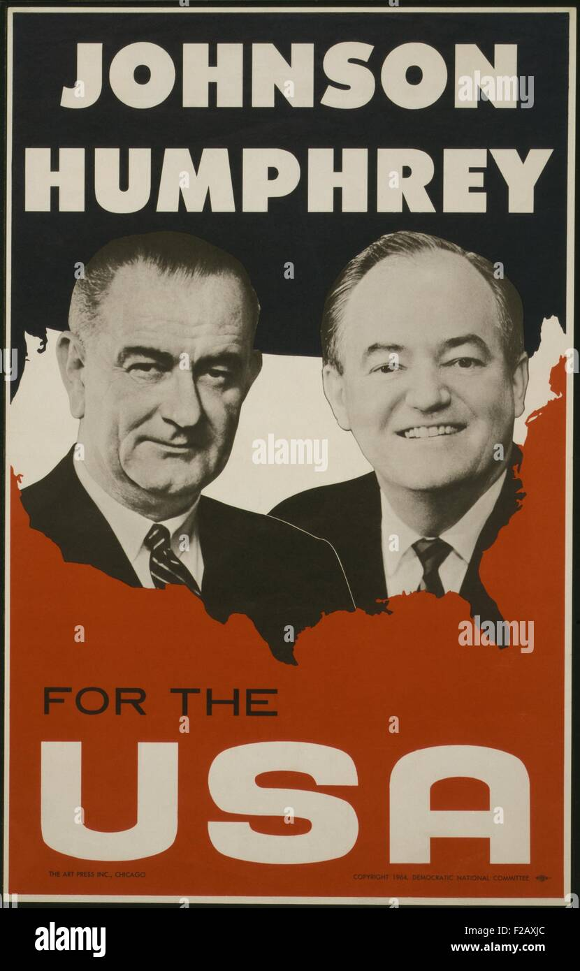 Johnson and Humphrey for the USA. Democratic National Committee poster for the 1964 election. Against Republican - Stock Image