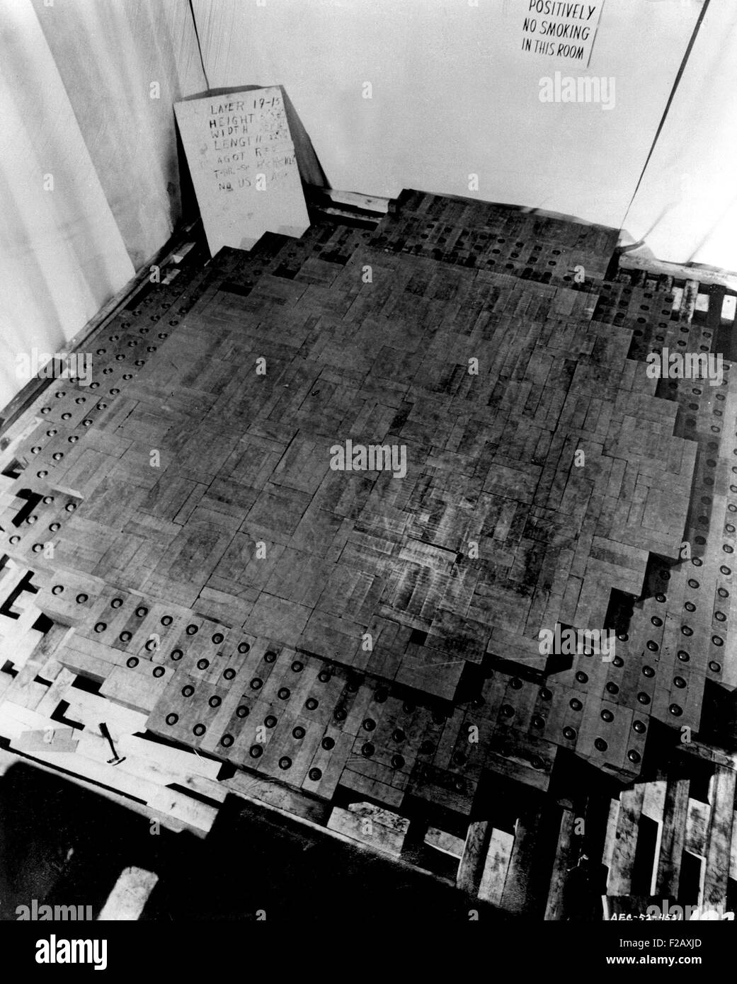 Photograph made during the construction of the Chicago Pile-1 (CP-1), the first nuclear reactor. It was a pile of - Stock Image