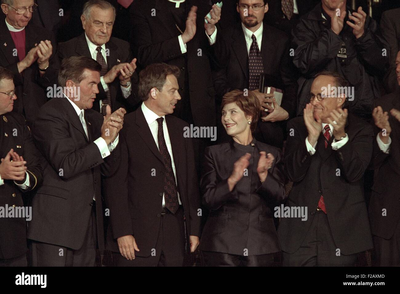 First Lady Laura Bush with Tom Ridge, PM Tony Blair, and NYC Mayor Rudy Giuliani. All three men were mentioned in - Stock Image