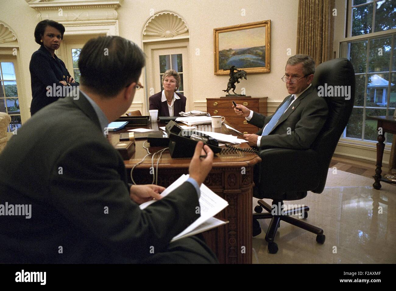 President George W. Bush preparing for his Sept. 20, 2001 speech to a Joint Session of Congress. With Bush 43 is Stock Photo