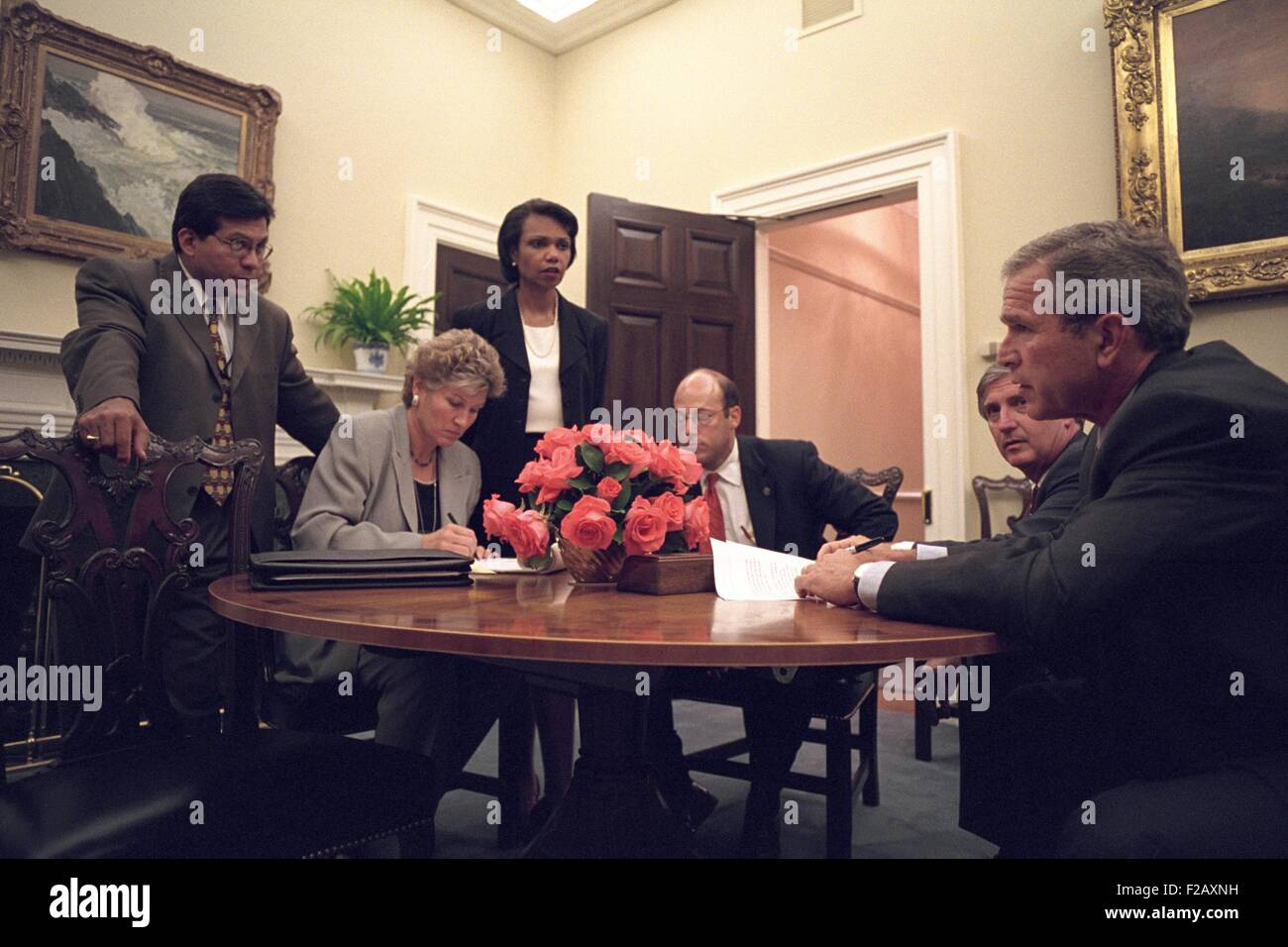 Oval Office meeting on the evening of Sept. 11, 2001, after 9-11 Terrorist Attacks. President George W. Bush is - Stock Image