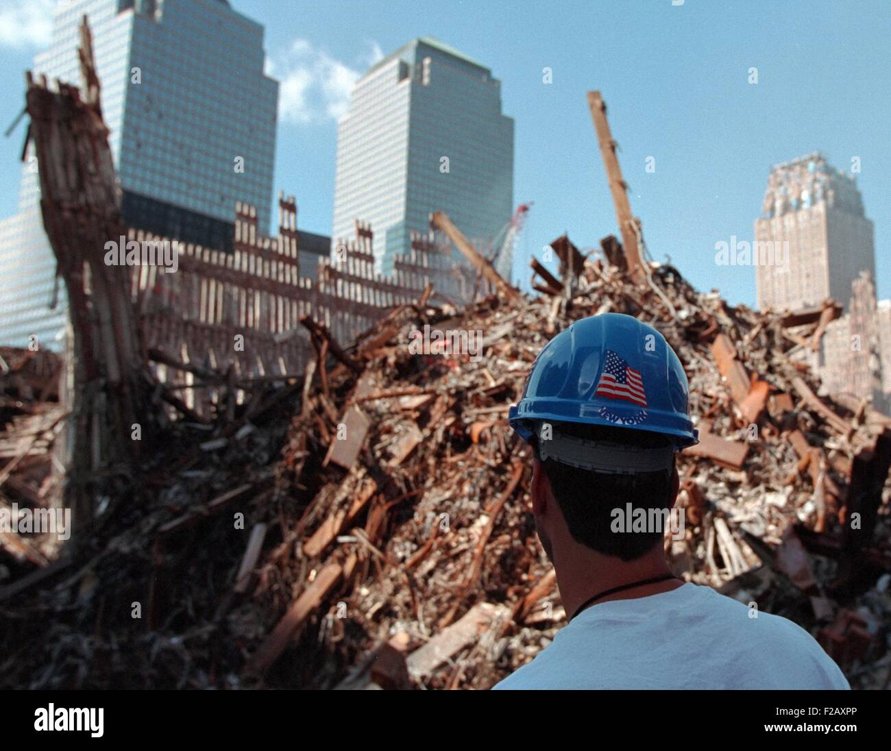 Worker at the 'pile' of rubble from the collapse of WTC 2, the South Tower on Oct. 3, 2001. The ruins of - Stock Image