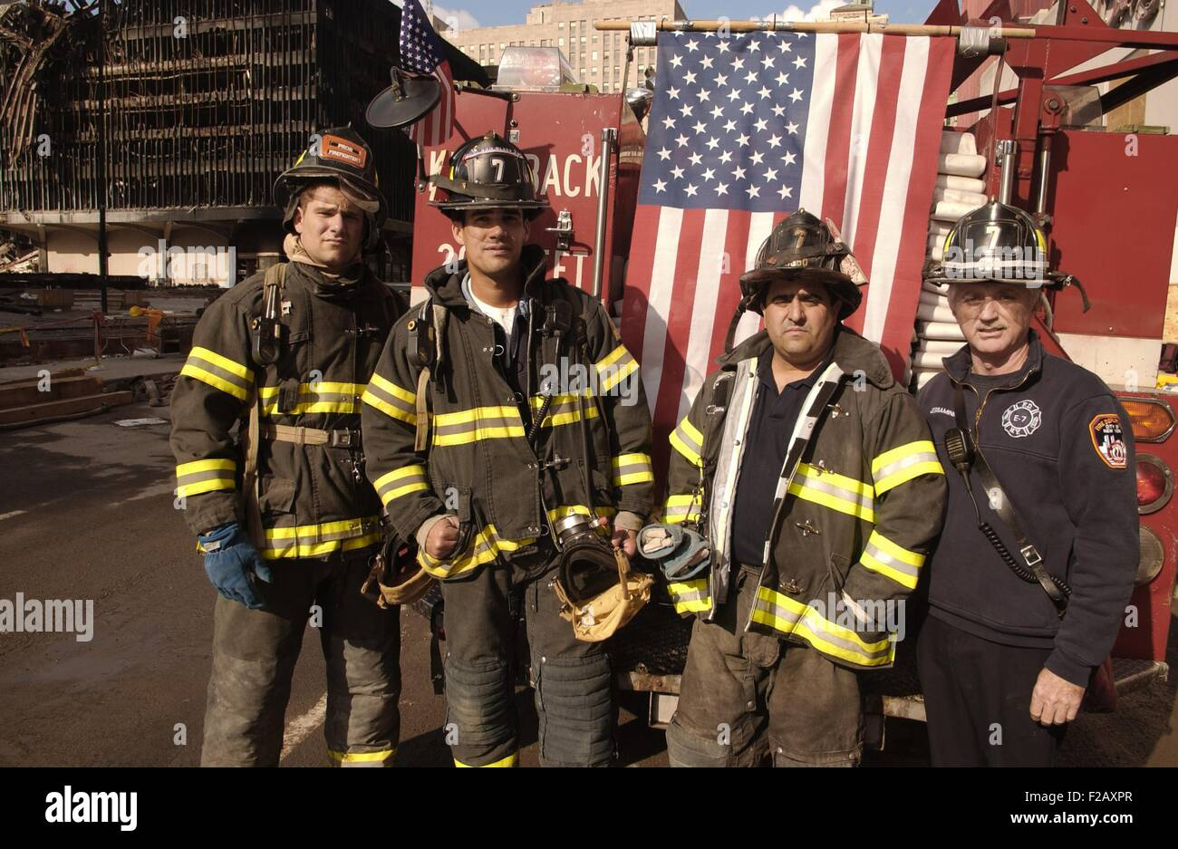 NYC firemen at the World Trade Center, Sept. 29, 2001. Recovery operations continued for months after the September - Stock Image