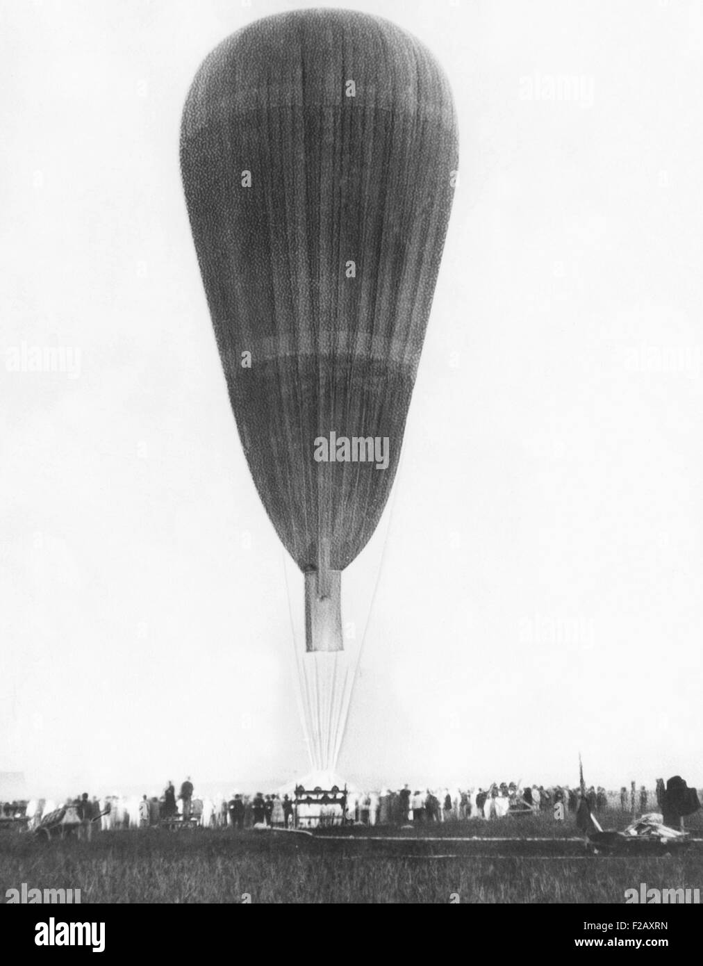 Hydrogen-filled balloon that lifted Auguste Piccard and Max Cosyns to the height of 53,153 feet. August 18, 1932, - Stock Image