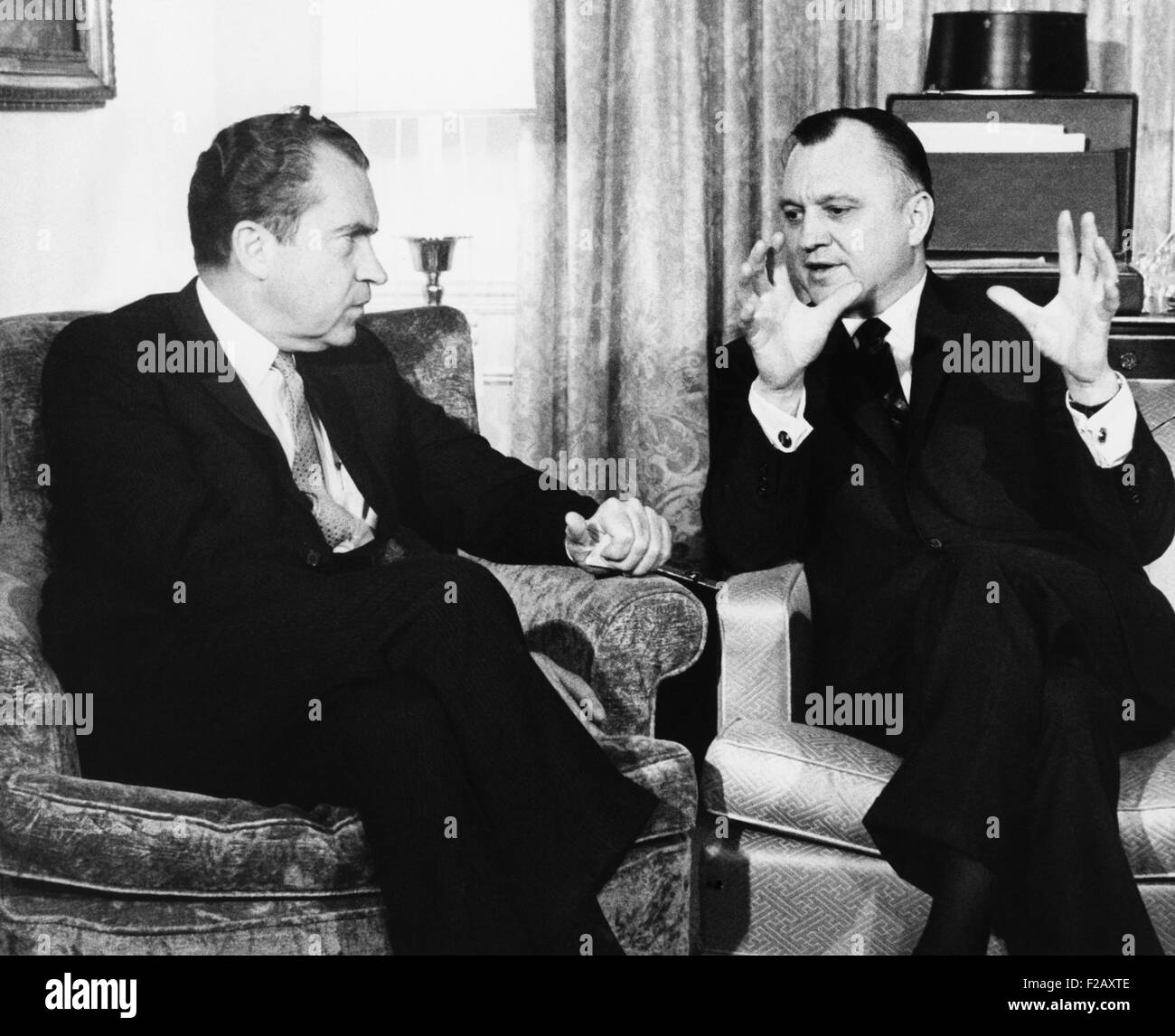 President-elect Richard Nixon with Walter Hinkle, Dec. 19, 1968. Hinkle reluctantly resigned as Alaska's governor - Stock Image