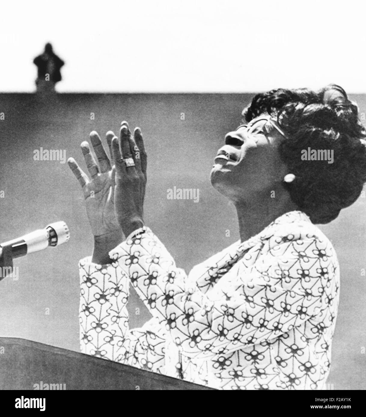 Democratic presidential candidate Shirley Chisholm addresses students at Cal State at Long Beach. June 17, 1972. - Stock Image