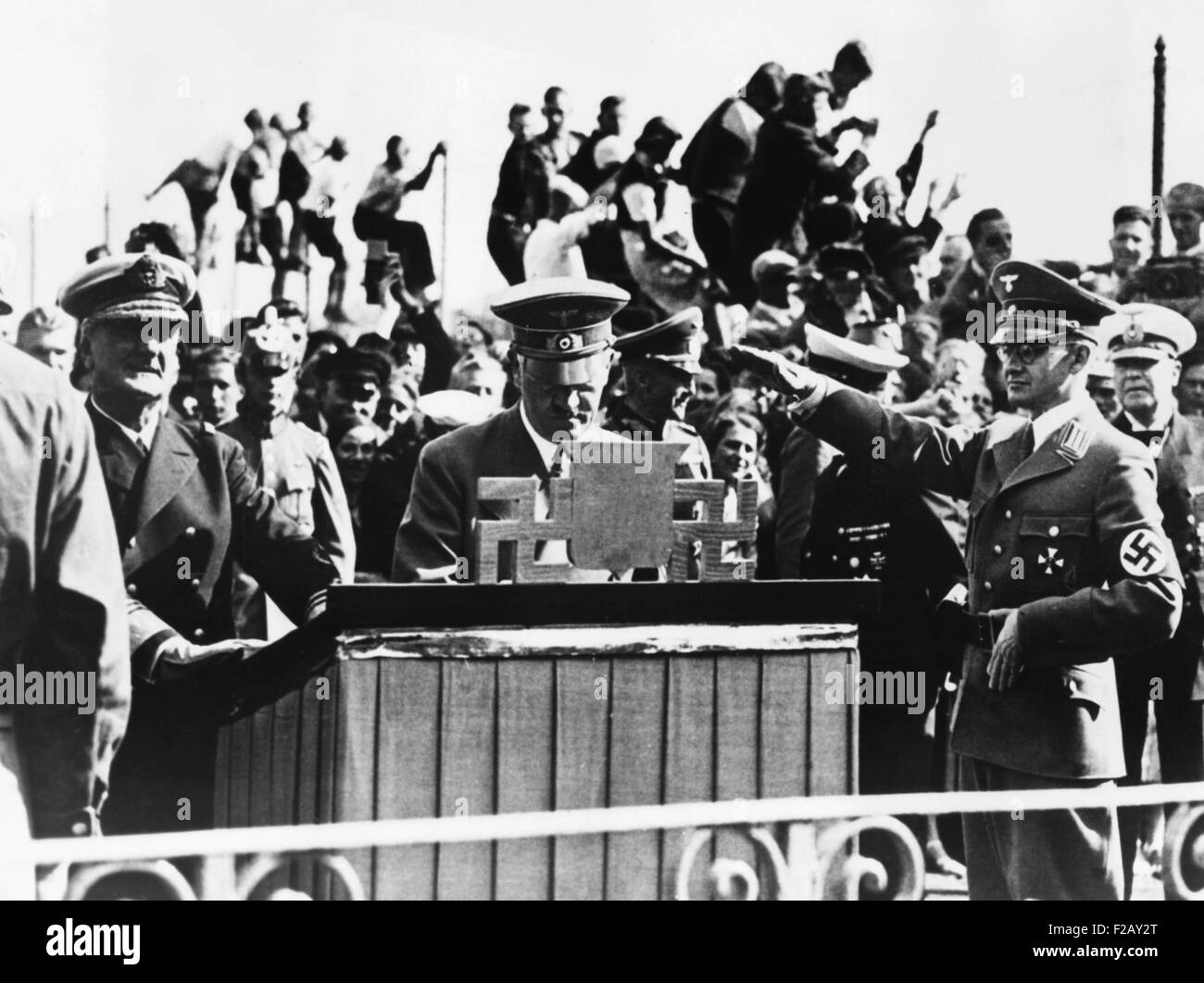 Hitler and Hungarian Regent Horthy at Heligoland Island in the North Sea, Sept. 1, 1938. Adolf Hitler signed the - Stock Image