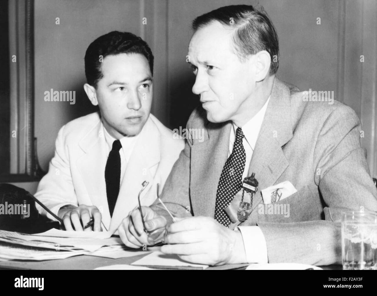 Harry Hopkins with David, the eldest of his three sons from his first marriage to Ethel Gross Hopkins. Harry Hopkins Stock Photo