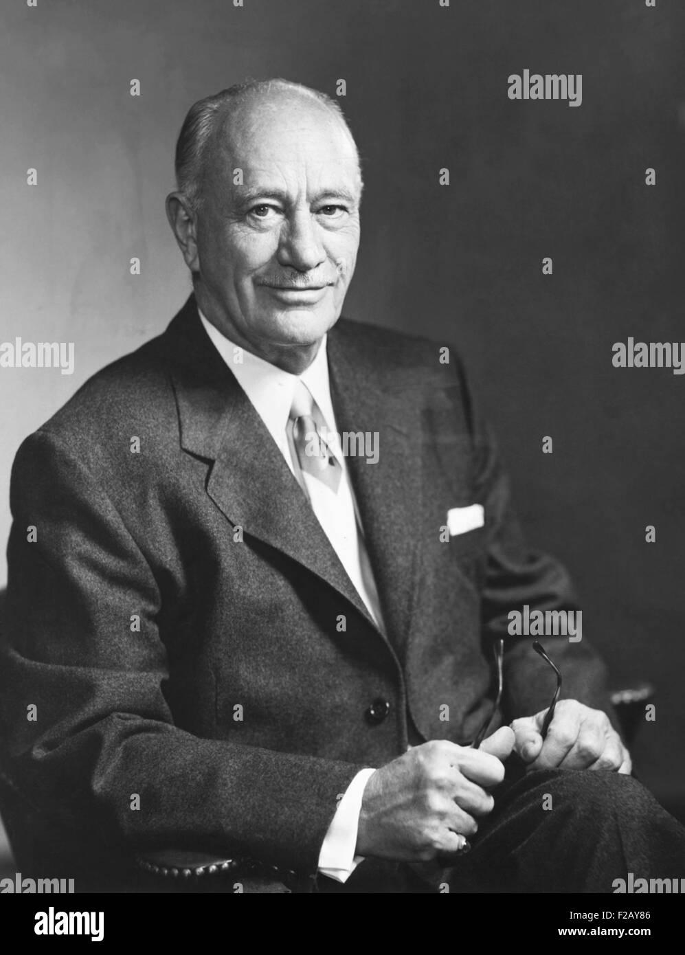 Conrad Hilton Sr. Portrait by Fabian Bachrach, 1955. Hilton was founder and President of Hilton Hotels Corporation, - Stock Image