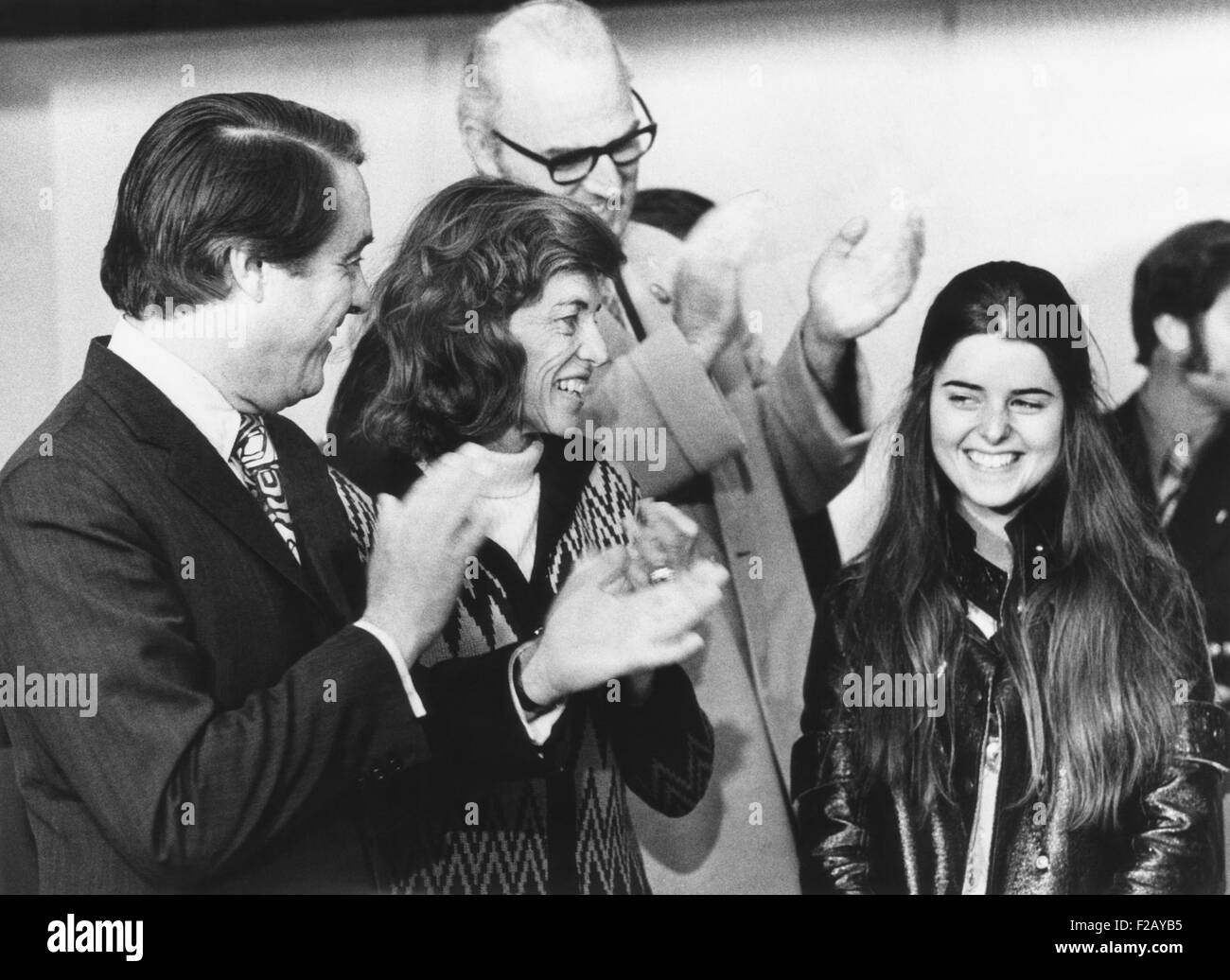 Maria Shriver receives applause on her 17th birthday, Nov. 6, 1972. She was campaigning with her father, Sargent - Stock Image