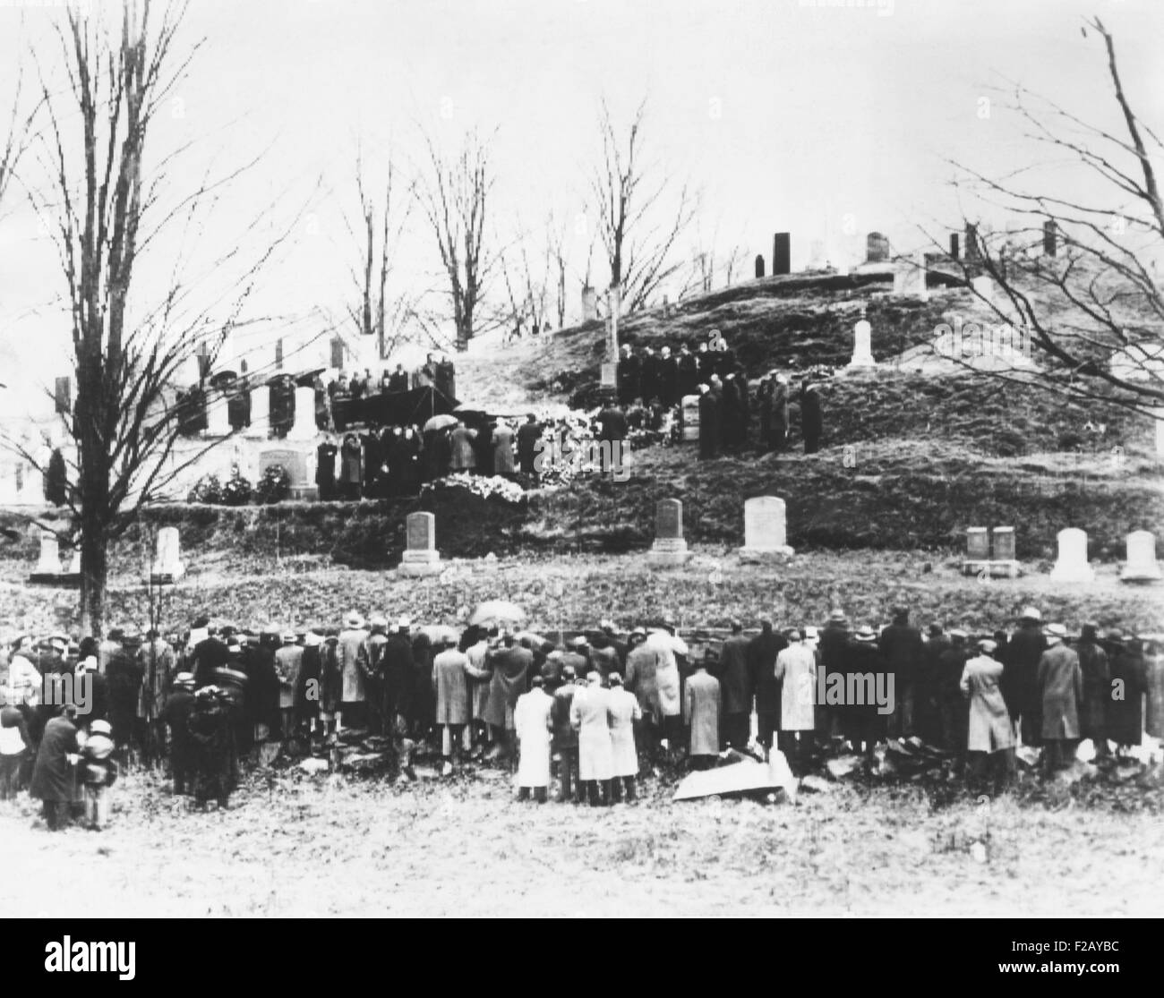 Calvin Coolidge, 30th President of the United States was laid to rest on Jan. 7, 1933. Mrs. Coolidge was sheltered Stock Photo