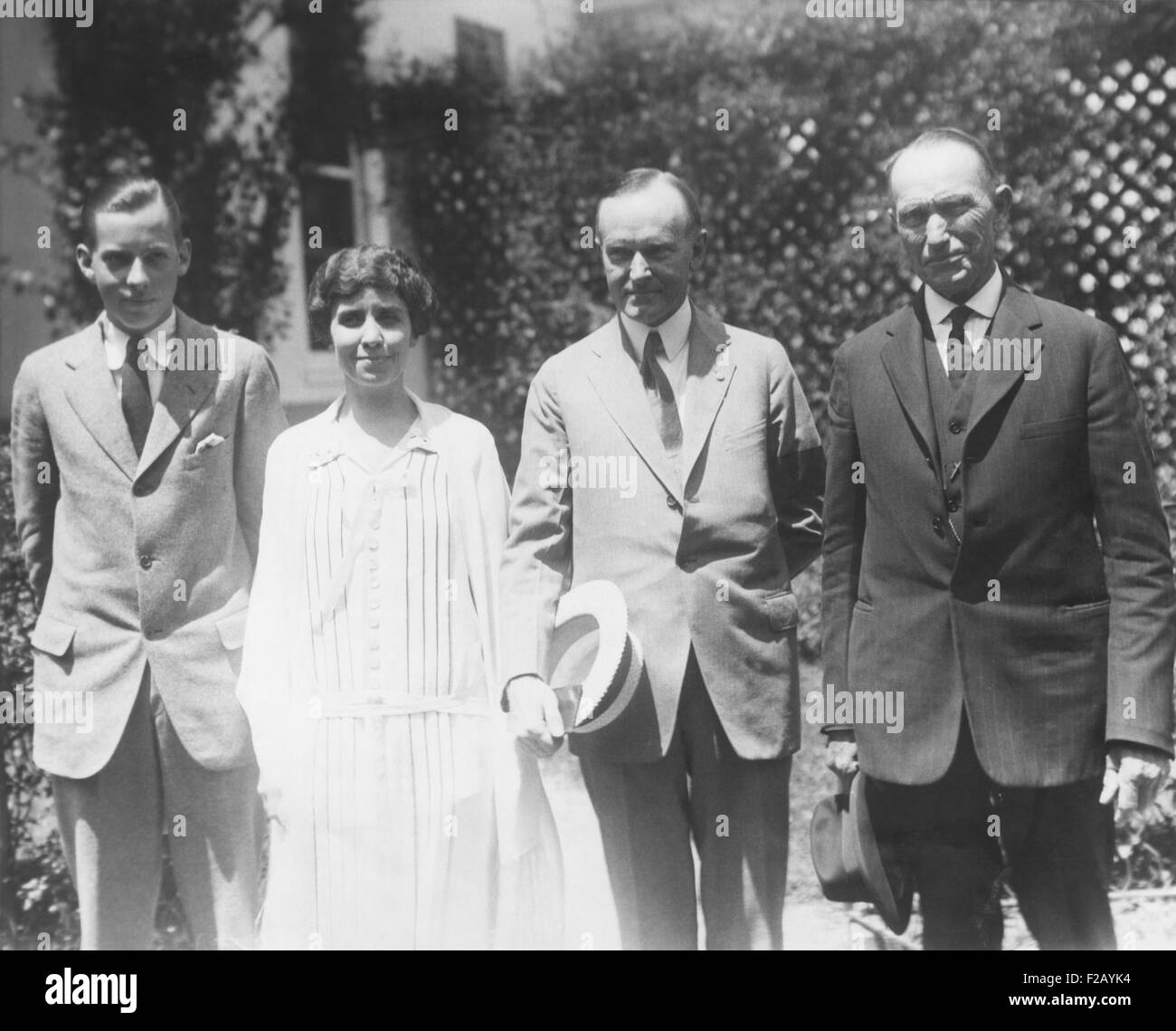 Coolidge family on White House lawn shortly after the death of 16 year of Calvin Coolidge, Jr. L-R: John Coolidge, - Stock Image