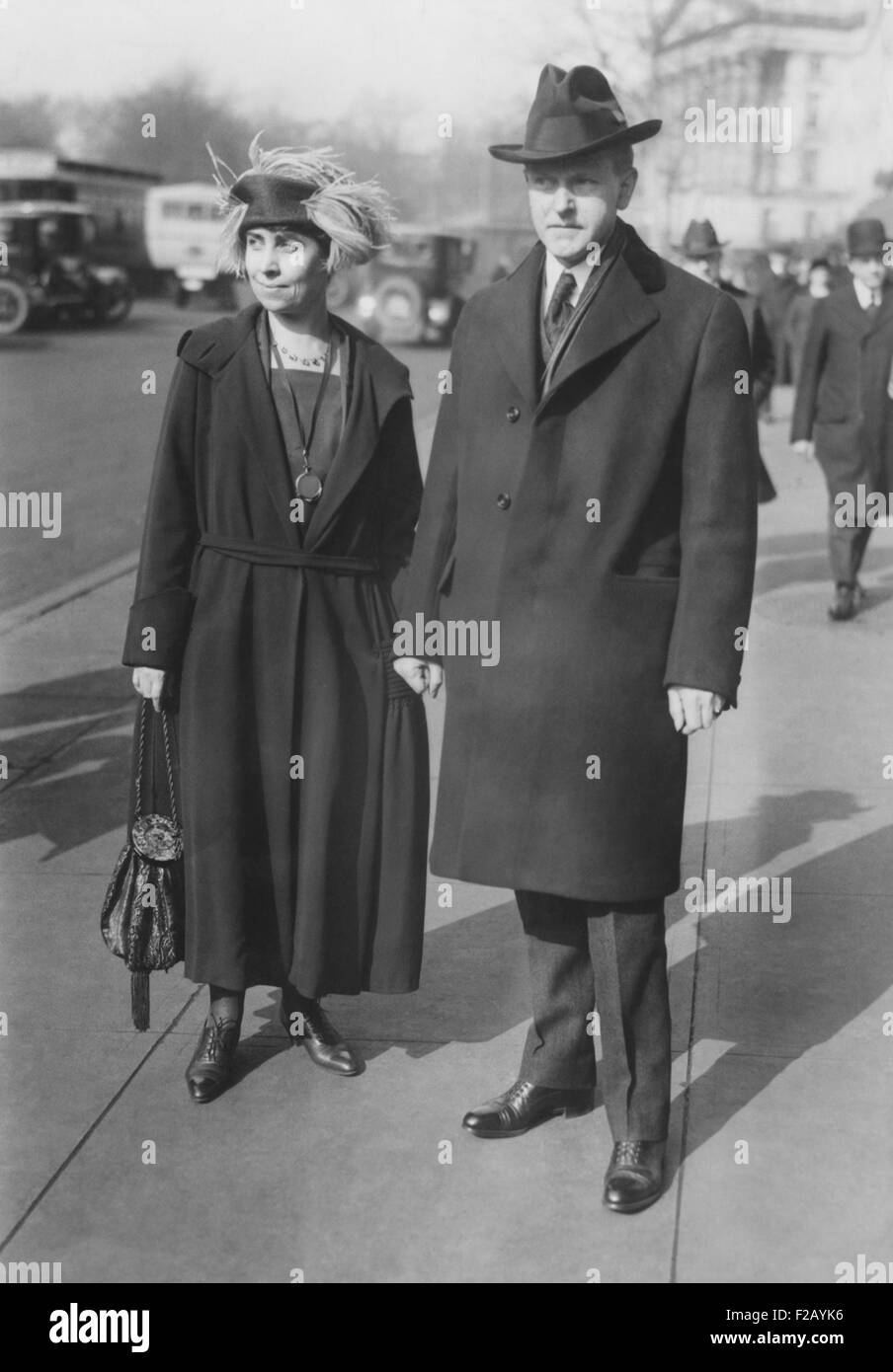 Vice President Elect Calvin Coolidge and Grace Goodhue Coolidge, in Washington, D.C. March 1, 1921. They were staying - Stock Image