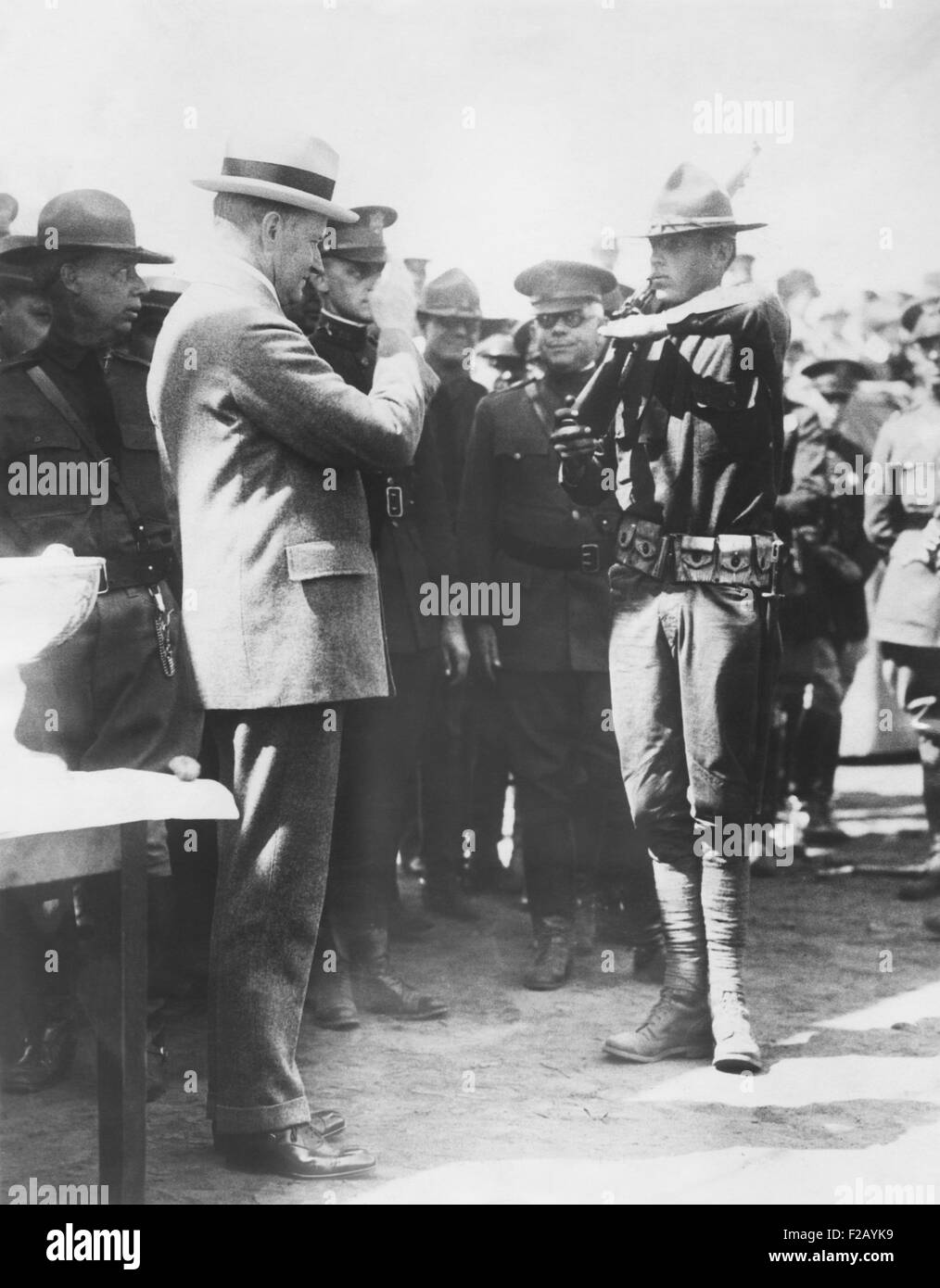 Cpl. John Coolidge salutes his Commander in Chief, President Calvin Coolidge. Aug. 29, 1925, He was at the Citizens - Stock Image