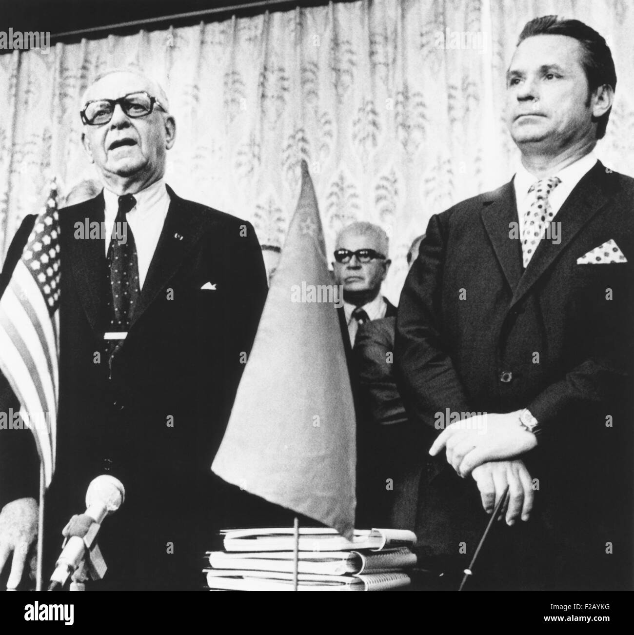Occidental Petroleum Corporation signed six contracts with the Soviet Union, June 28, 1974. At the signing of the - Stock Image