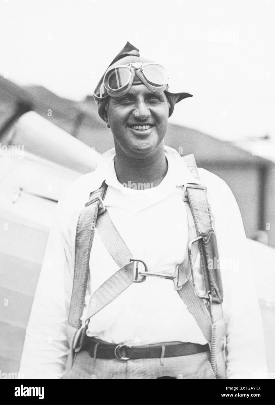 Harry F. Guggenheim arriving at Mitchell Field, Long Island, after 12 1/2 hour flight from Havana. July 1930. He - Stock Image
