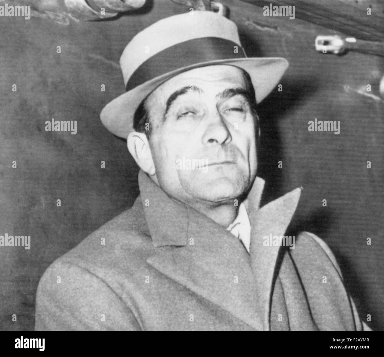 Vito Genovese, American gangster, June 2, 1945, after arriving in New York by ship from Italy. Military police arrested - Stock Image