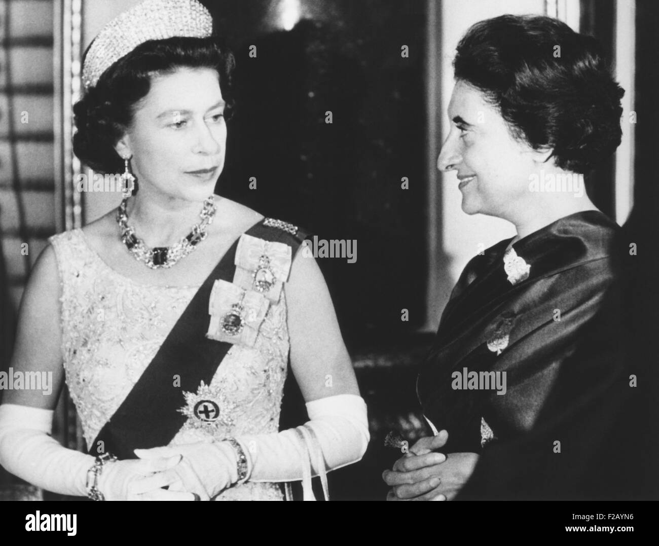 Queen Elizabeth with Indian Prime Minister Indira Gandhi at Buckingham Palace. They were attending a reception for - Stock Image