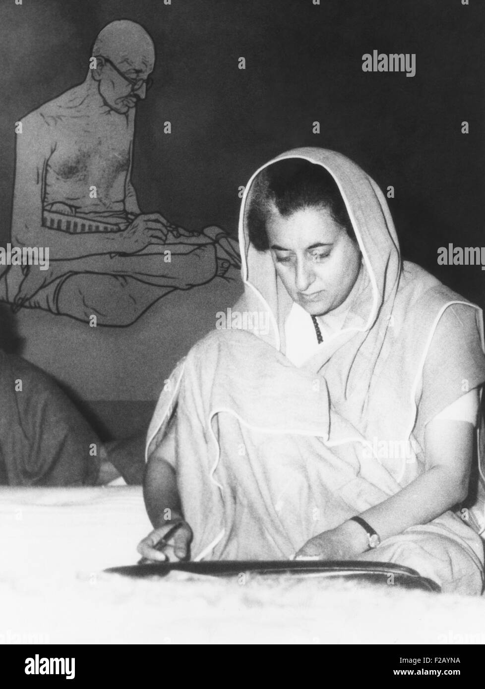 Indian Prime Minister Indira Gandhi during the annual session of the ruling Congress Party. Feb. 2, 1966. Seated - Stock Image