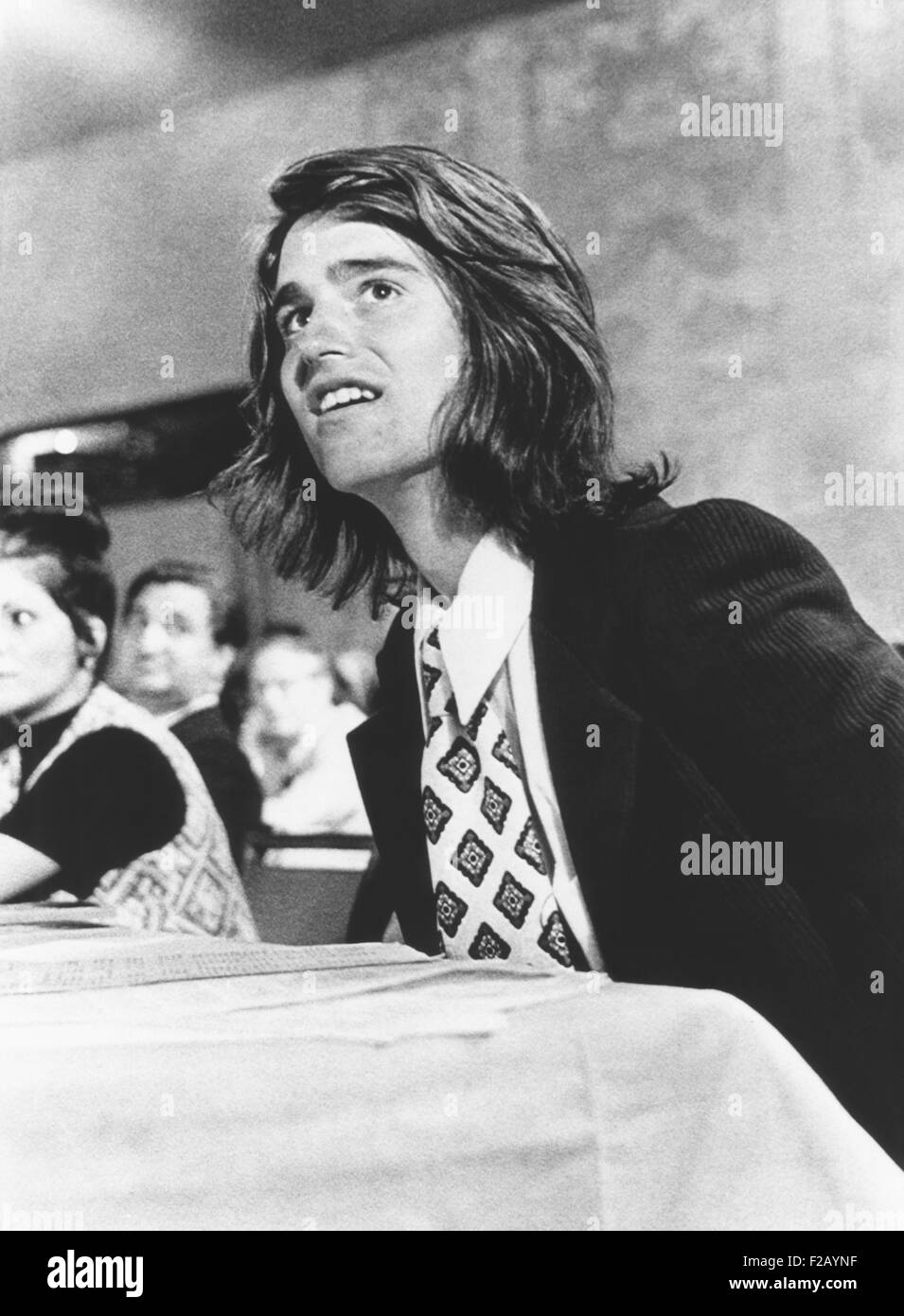 Bobby Shriver watches the Democratic National Committee approve his father' nomination for VP. After Thomas - Stock Image