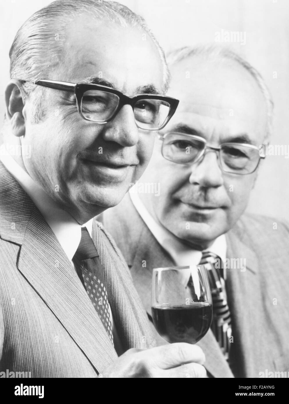 Ernest and Julio Gallo, ca. 1975. Brothers who founded the E.&J. Gallo Winery in 1933, when Prohibition ended. - Stock Image