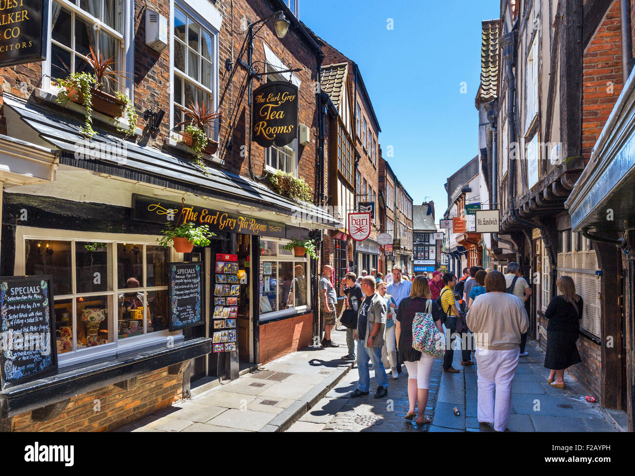York, Shambles. Pubs, shops and cafes on the historic Shambles, York, England, UK - Stock Image