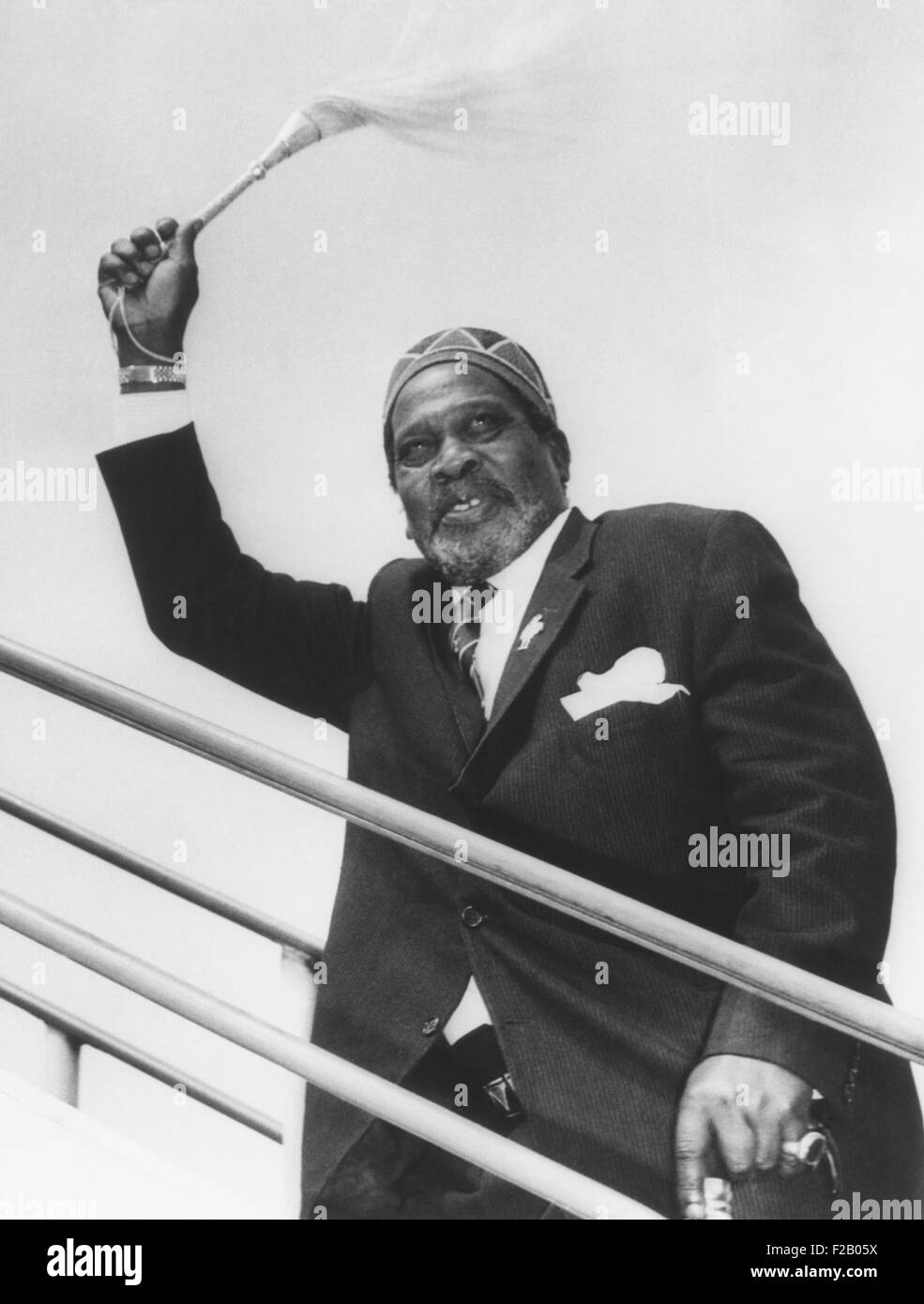 Jomo Kenyatta, President of Kenya, carried a fly-whisk, a mark of authority in Maasai society. During his rule, multi-ethnic Kenya moved toward one party rule, Kenya African National Union, and domination by his Kikuyu (Gikuyu) Tribe's elite. While it is the largest ethnic group in Kenya, it represented less than 25% of the population. (CSU_2015_9_688) Stock Photo