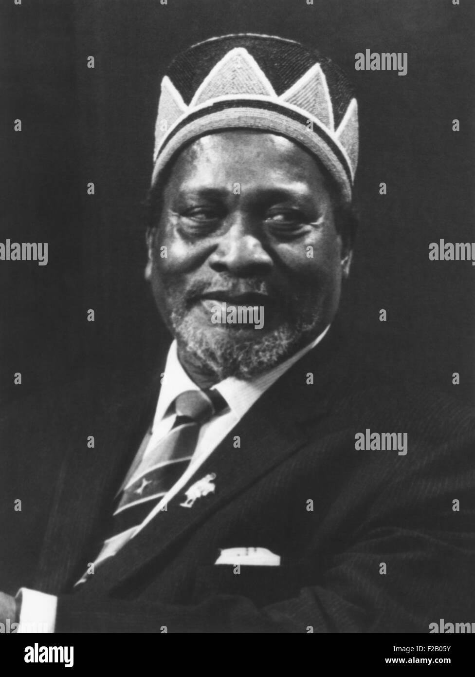 Jomo Kenyatta, President of Kenya from 1964 until his death in 1978.  Kenyatta wears a beaded Luo tribal hat, originally - Stock Image