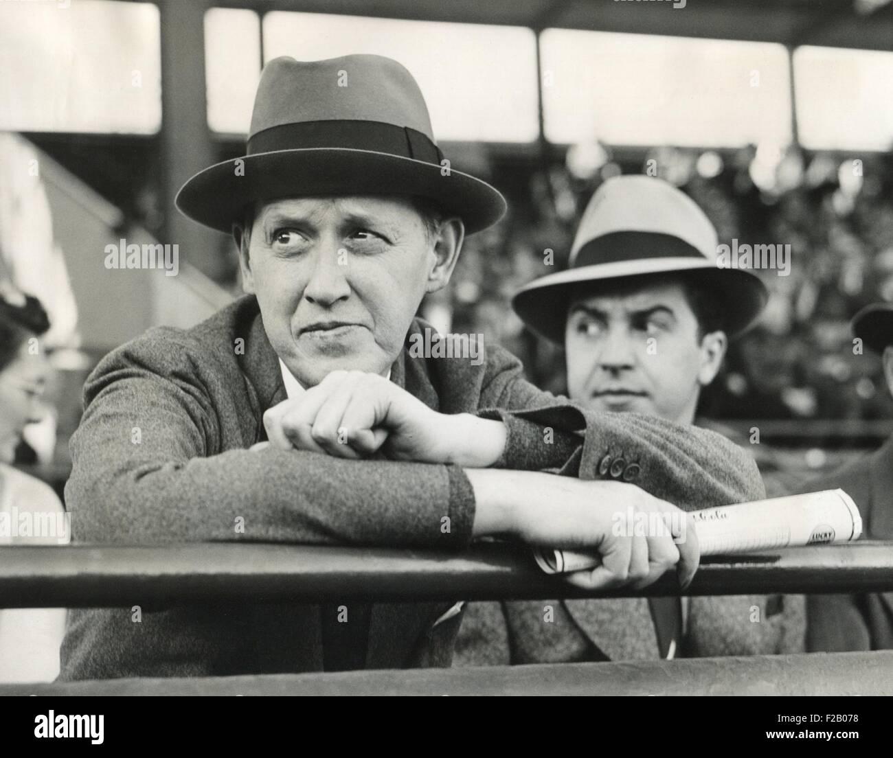 Secretary of Commerce Harry Hopkins watching a Washington-Yankee ball game. April 29, 1940. (CSU 2015 9 1256) Stock Photo