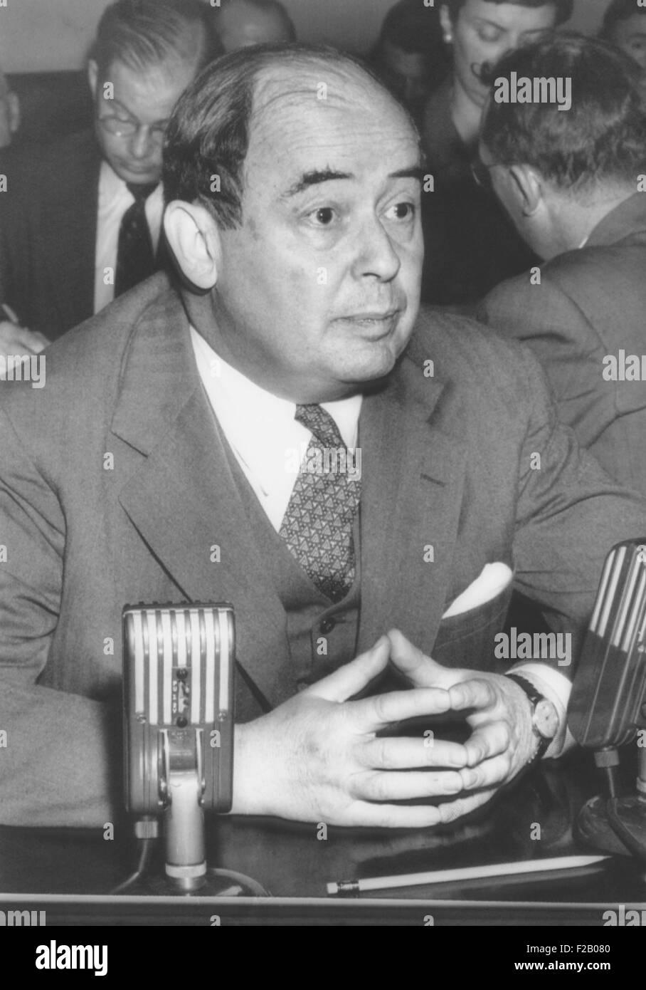 Dr. John von Neumann, a 51 year mathematician before Congress' Atomic Energy Committee. After his appearance - Stock Image