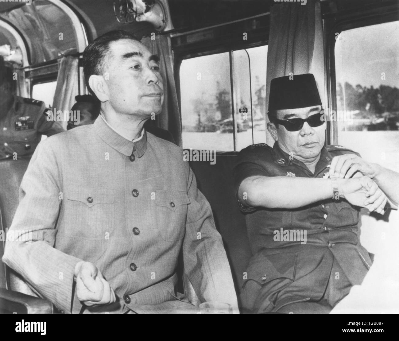 China's Premier Chou En-lai (left) cruising Egypt's Nile River with President Sukarno of Indonesia. July - Stock Image
