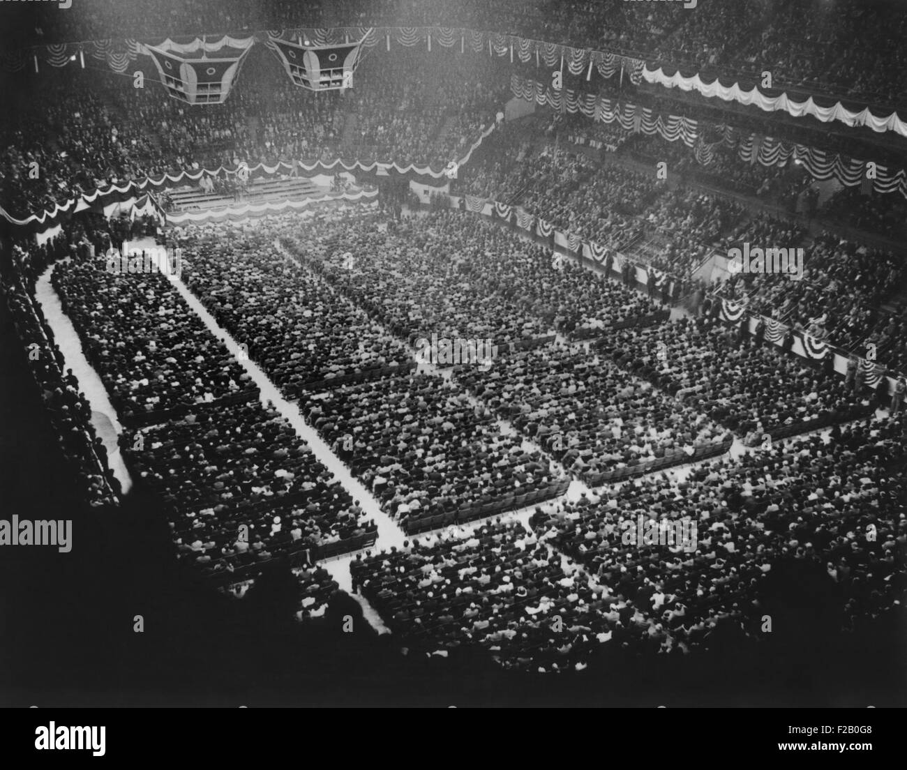 Father Coughlan spoke to a crowd of 17,000 in Madison Square Garden, New York. May 22, 1935. He appealed to union - Stock Image
