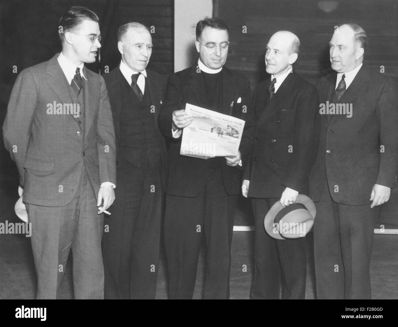 Father Coughlin founded the National Union for Social Justice (NUSJ) in April 1935. The political group had a nationalistic - Stock Image