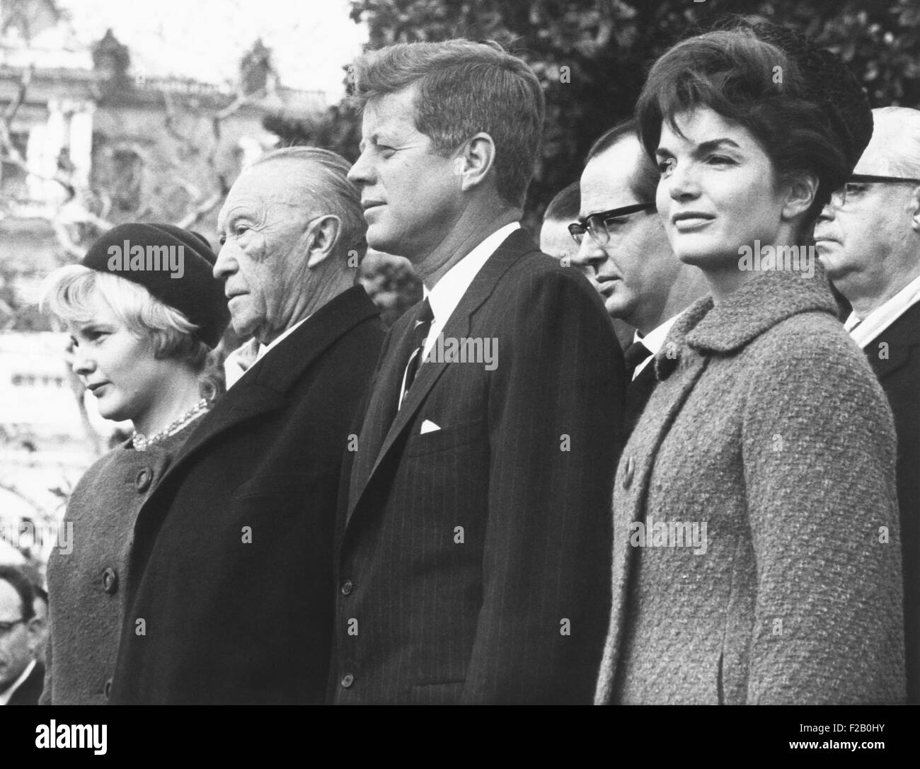 West German Chancellor Konrad Adenauer received full military honors at White House Ceremony. Nov. 4, 1962. L-R: - Stock Image
