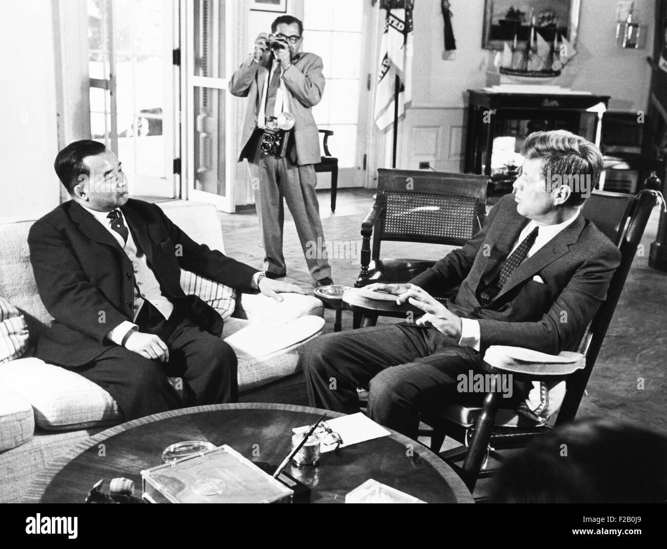 President John Kennedy met with Souvanna Phouma, Prime Minister of Laos, Sept. 23, 1963. The neutralist leader sought Stock Photo