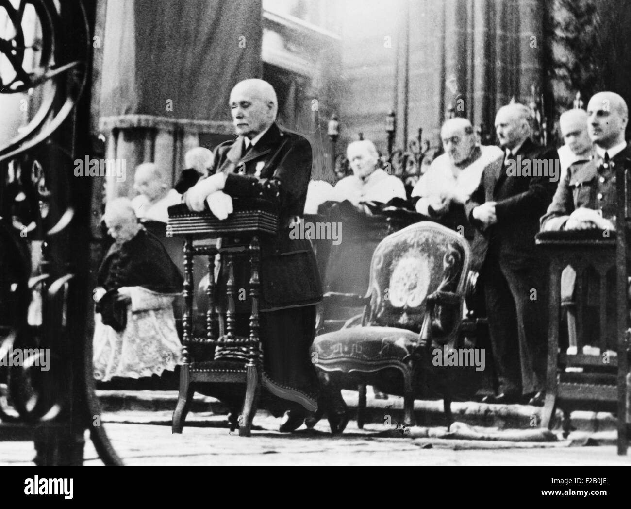 Marshall Petain, head of France's Vichy Government, at Armistice Day services, Claremont Cathedral. Nov. 11, - Stock Image