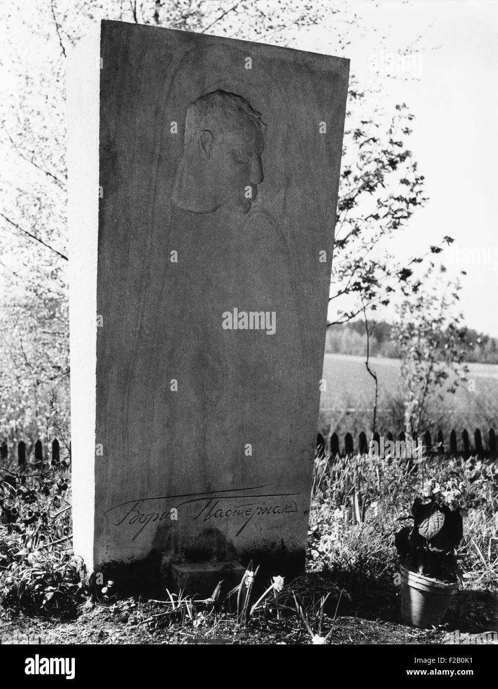 Boris Pasternak's grave in a Russian Orthodox cemetery in Peredelkino, near Moscow. May 1966. At the time of - Stock Image