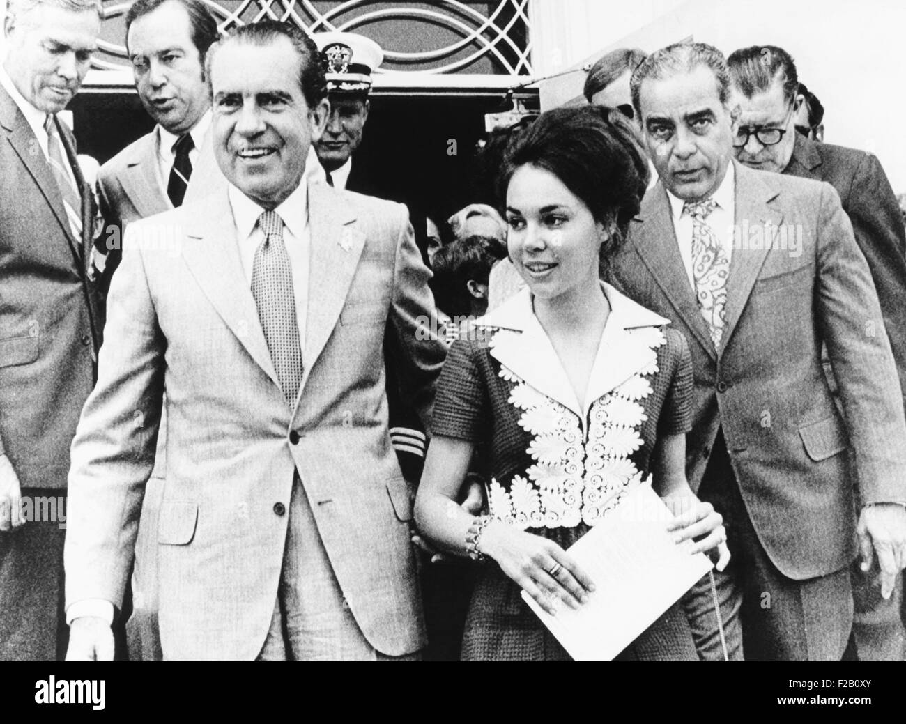 President Richard Nixon, daughter Julie, and friend Charles Rebozo in Miami. March 5, 1972 . Rebozo and Nixon remained - Stock Image