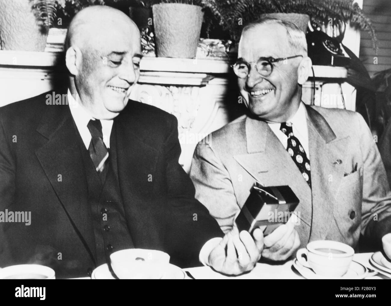President Harry Truman wishes House Speaker, Sam Rayburn, a happy 68th birthday. Truman surprised the speaker at - Stock Image