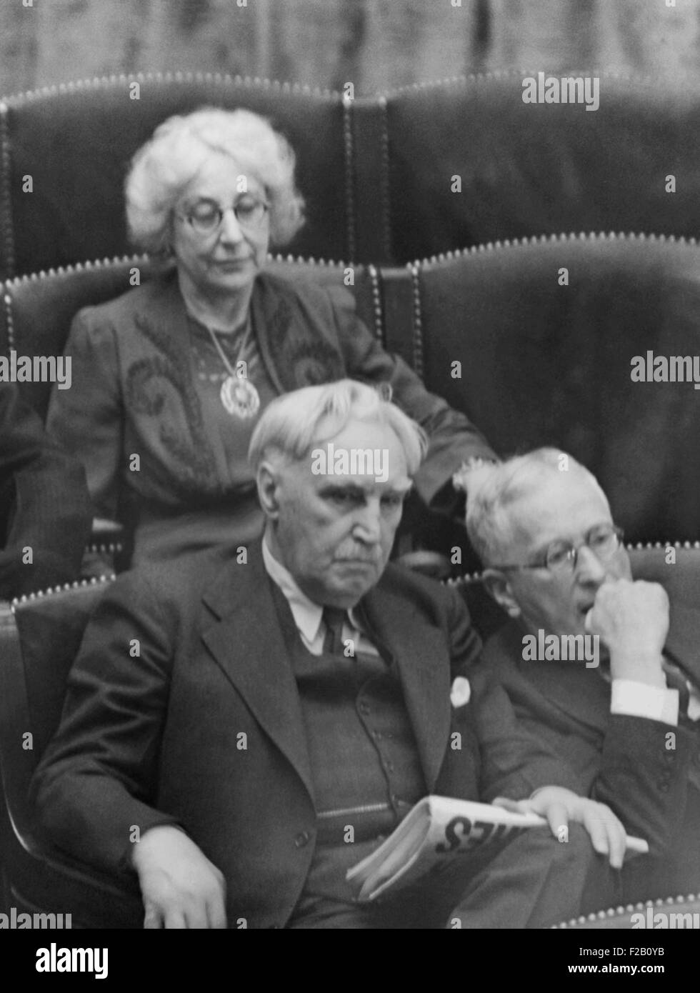 Rep. Jeannette Rankin of Montana, in House during Resolution of War Declaration on Germany and Italy. Dec. 11, 1941. - Stock Image