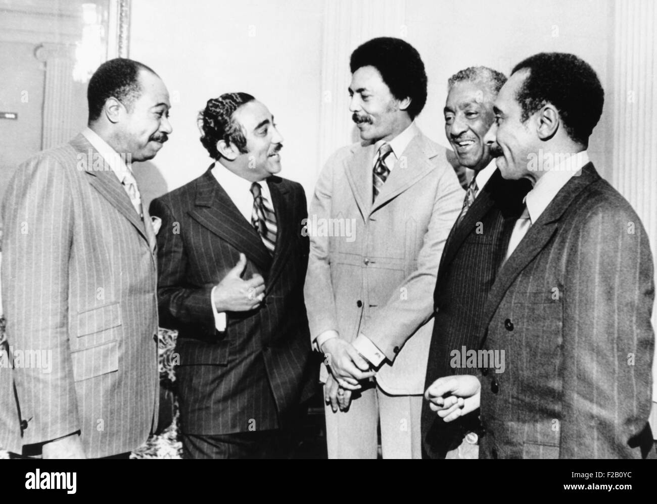 Five new African American members of Congress, Jan. 21, 1971. L-R: George Collins, Illinois; Charles Rangel, New - Stock Image