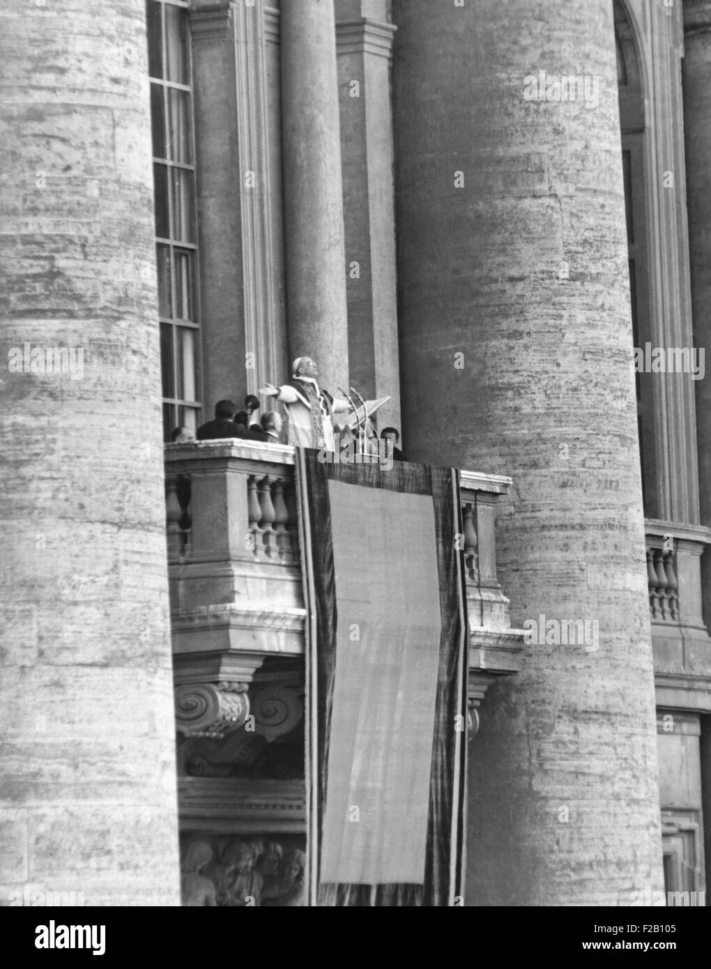 Pope Pius XII addressed a crowd of 150,000 from the balcony of St. Peter's Basilica, March 24, 1953. (CSU 2015 9 Stock Photo