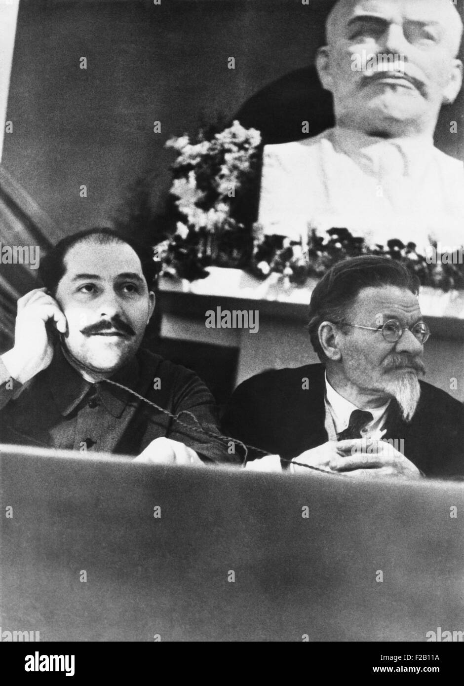 Soviet leaders Lazar Kaganovich and Mikhail Kalinin at the Third City Conference of Communist Party. Moscow, Feb. - Stock Image