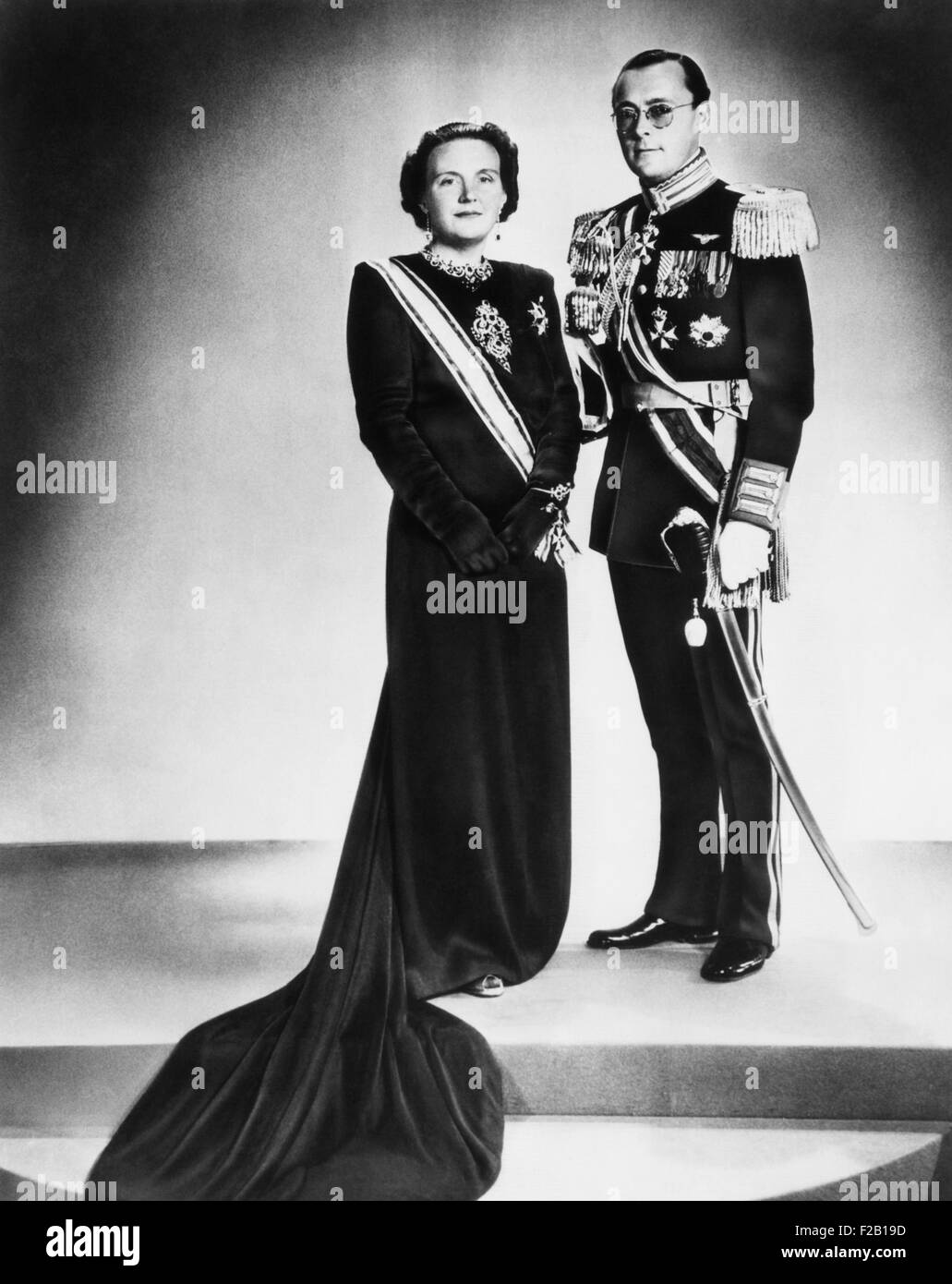 Queen Juliana of the Netherlands and her consort, Prince Bernhard, on her accession to the throne. She succeeded - Stock Image