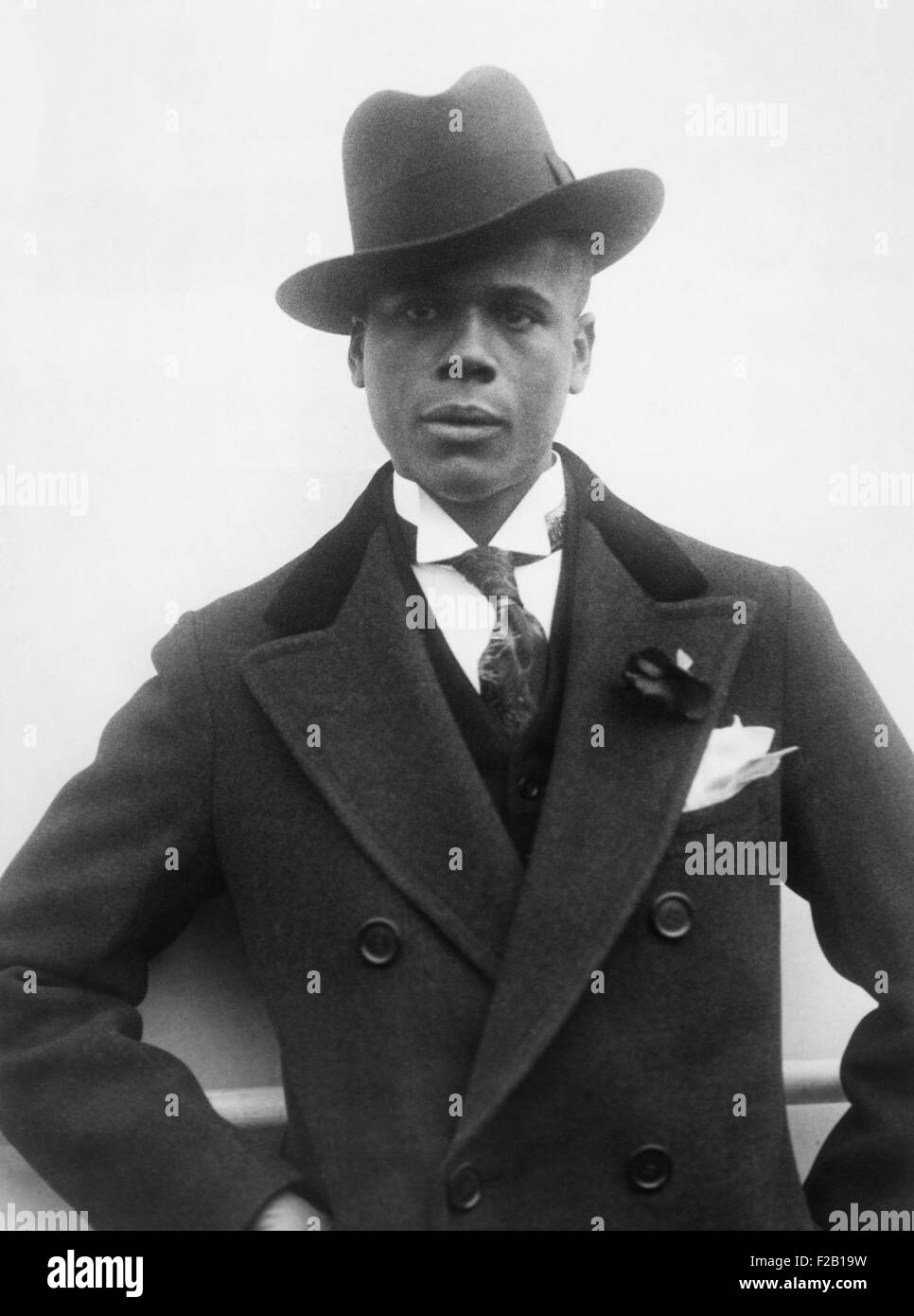 Aviator Hubert Fauntleroy Julian returning from Ethiopia on the SS Ile-de-France, Nov. 1930. He was returning from - Stock Image