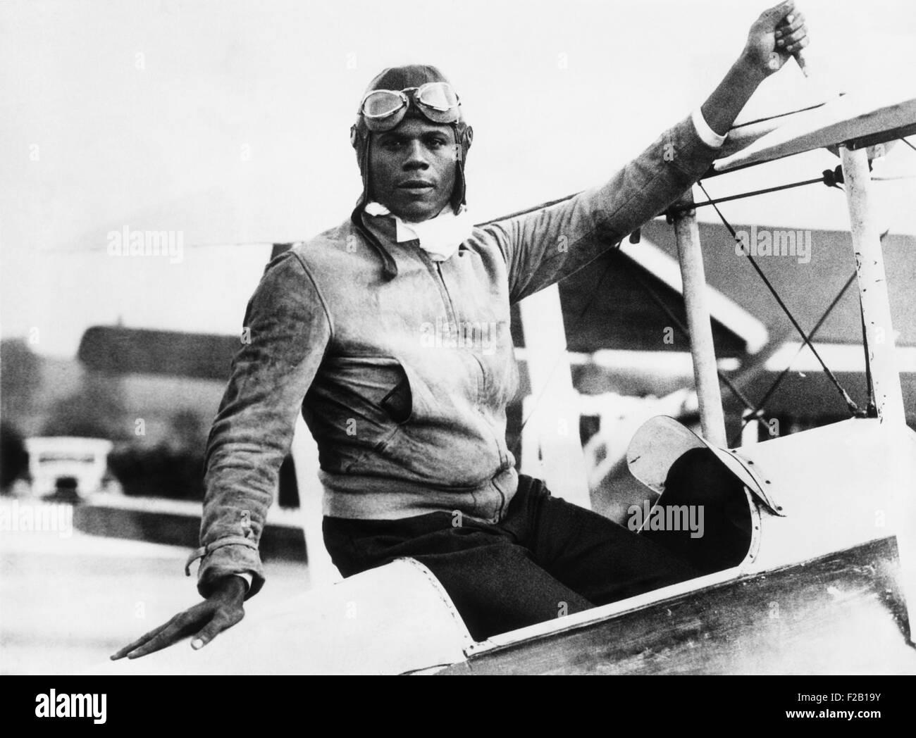 Hubert Julian at Abridge Aerodrome, in Essex, England. Aug. 30, 1934. He announced plans to enter London-Melbourne - Stock Image
