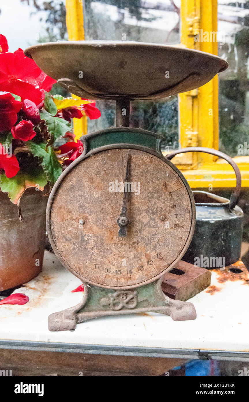 Old, rusty weighing scales Stock Photo