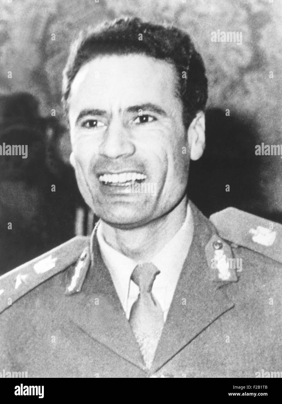 1974 photo of Muammar Gaddafi who assumed power in Libya after 1969 coup d'etat. He ruled as 'Revolutionary - Stock Image