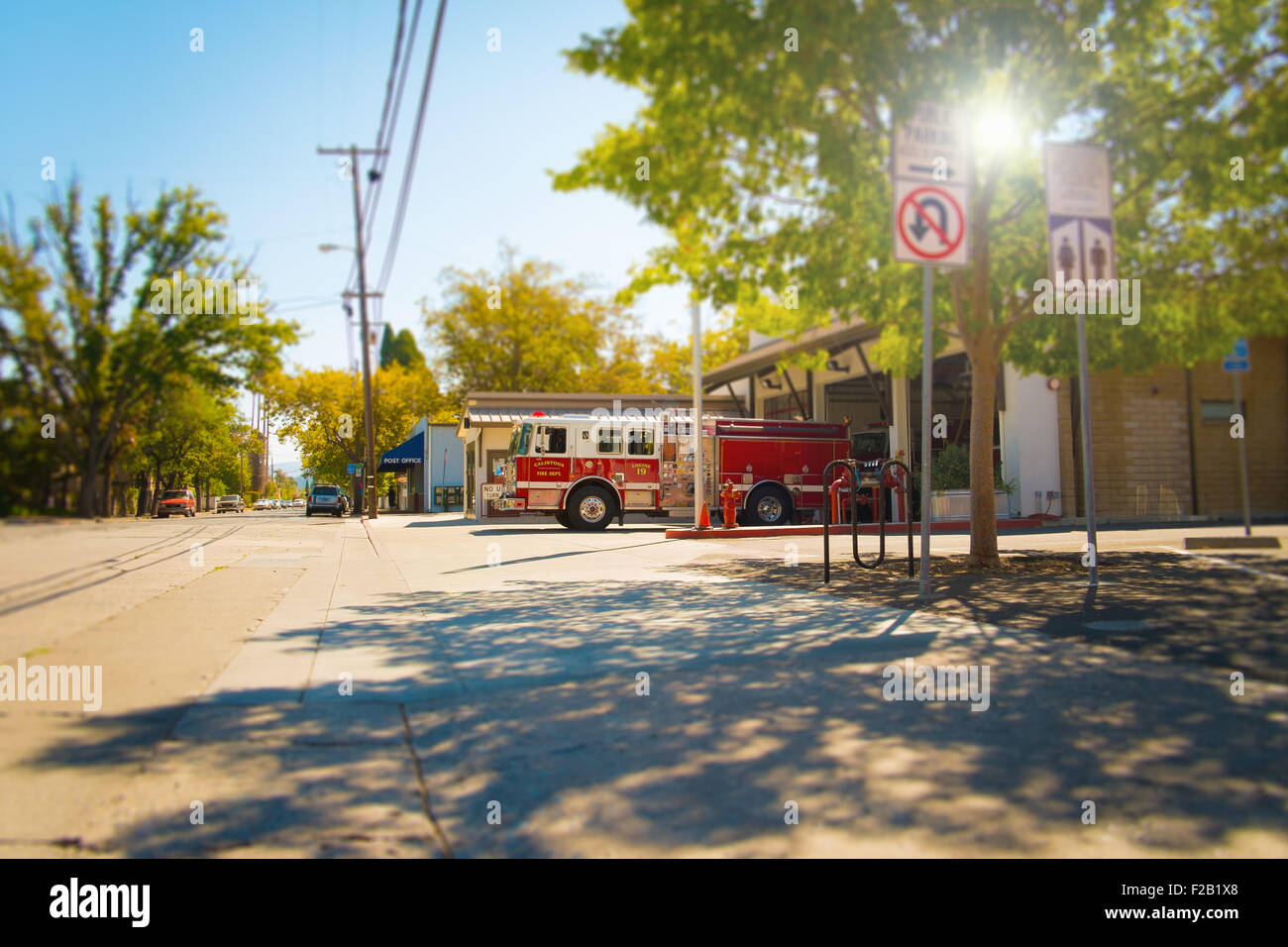 Fire Engine outside Fire station in town in California Stock Photo